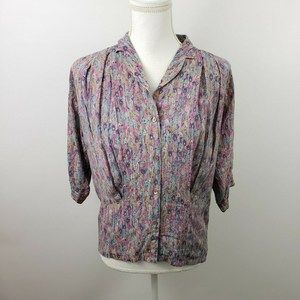 Vtg Marc D'Alcy xs Sm 80s blouse top pleated silk